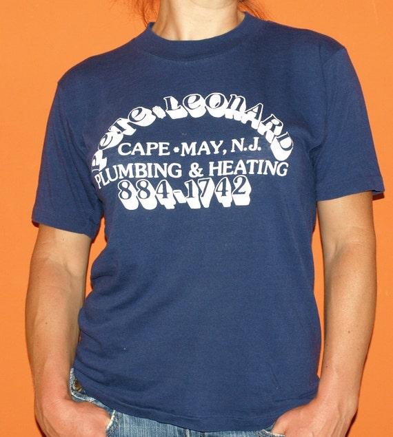 Vintage 1980's Pete Leonard Plumbing Heating Blue Soft Thin indie t-shirt 80's New Jersey tee shirt