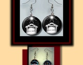 NATIVITY of Jesus Christmas symbol black and white Altered Art Dangle Earrings with Rhinestone