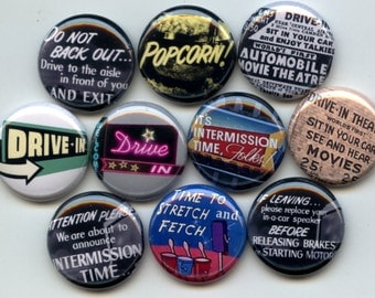 "Drive In Movie car automobile retro Theater 10 Pinback 1"" Buttons Badges Pins"