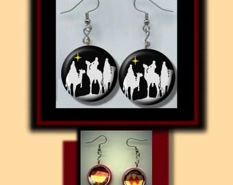 MAGI Three Wise Men Christmas nativity of Jesus Black and White Altered Art Dangle Earrings with Rhinestone