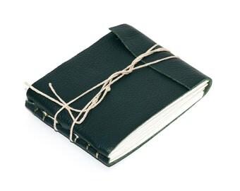 Rustic Leather Journal or Leather Sketchbook, Pocket Sized Notebook, Jade Green