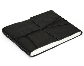 Modern Black Leather Journal or Leather Sketchbook, Large Sized, Handbound Photo Album