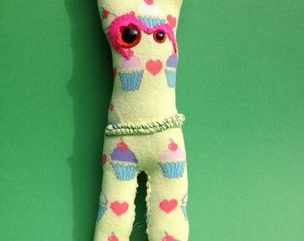 Sock plush-sock monster-Penelope Cup cakes- Yellow socks-geekery - sock monsters.