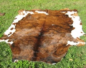 Western Decor COWHIDE Rug Leather BRINDLE Brown