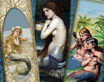 1x3 Inch Microscope Slide Images - Victorian & Vintage Mermaids - Sea Nymphs, Sirens - Digital Collage Sheet - Instant Download and Print