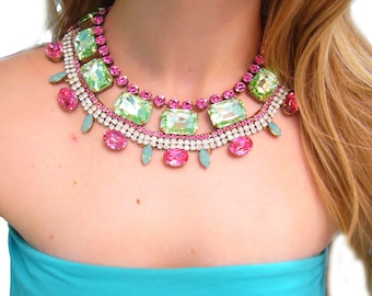 Custom One of a Kind Bridal Swarovski and Vintage Rhinestone Necklace - KAREN