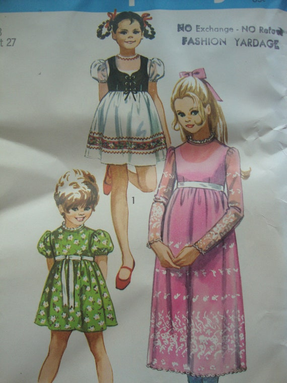 vintage 1971 simplicity girls DRESS sewing pattern SIZE 8 bolero DIRNDL heidi puff sleeves empire waist uncut