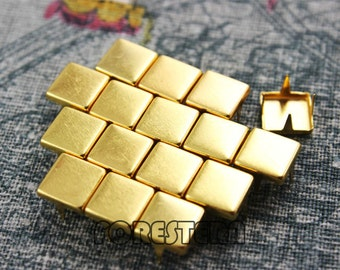 200Pcs 8mm Gold Flat Square Studs (JFQ08)