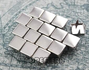 200Pcs 8mm Silver Flat Square Studs (SFQ08)