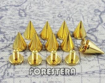 10Pcs 10mm x 7mnm Gold Conical Metal Screw Back Spike Studs (JPK710)