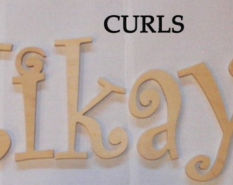 7 letters set name- 10 INCH  Unpainted Wooden  Letters-Wood Letters-Wall Letters- Monogram Letters -Unfinished-Custom size available