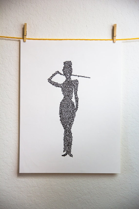 Audrey Hepburn - Holly Golightly Silhouette in Calligraphy Quotes