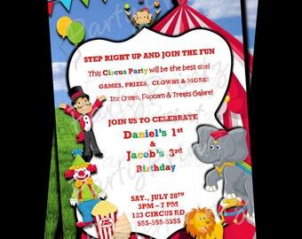 Printable Circus Carnival Invitations -  Personalized -  Custom - Birthday