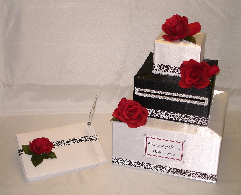Elegant Custom Made Wedding Card Box-Guest Book/Pen set -any color ...