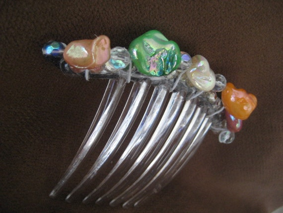 Multi-colored Mother of Pearl & Swarovski Crystal French Twist Comb
