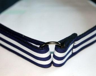 School Uniform Velcro D Ring Belt Navy Blue Stripes