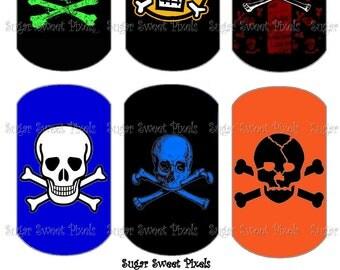 INSTANT DOWNLOAD Colored Skull & Crossbones  Digital Dog Tag Images 4x6 sheet