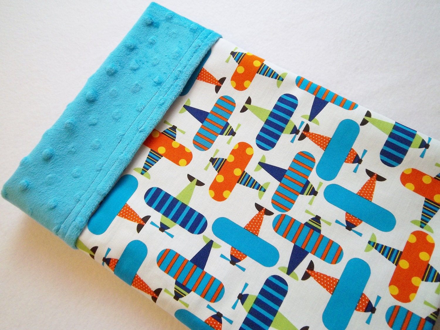 Airplane print organic cotton soft minky baby blanket ready for Space minky fabric