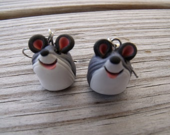 Tiny Polymer Clay Mouse  Earrings