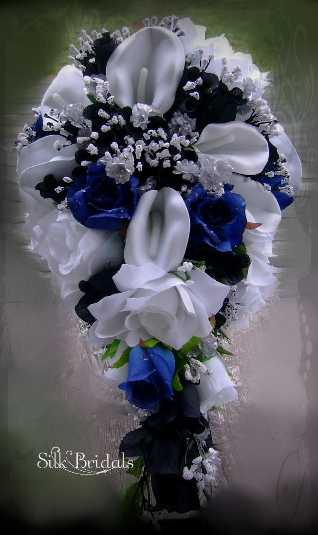 Blue And White Silk Wedding Bouquets : Royal blue black and white bridal bouquet silk wedding flowers