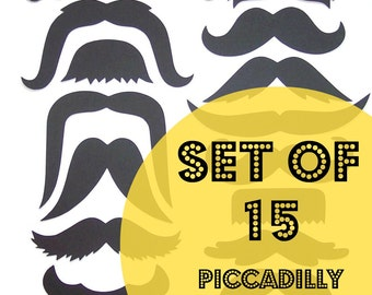 15 Mustache Cut Outs - Die Cuts - Photo Props - Party Decorations - Garlands - Party Straws - Photo Booths