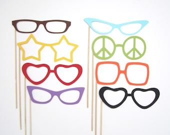 Set of 8 Glasses . Photo Booth Props