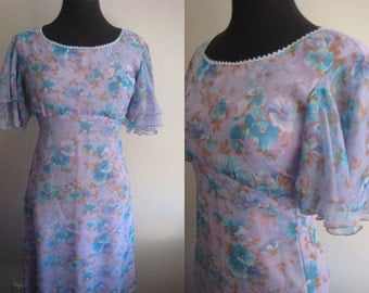 SALE - Vintage Purple lilac floral Chiffon overlay 60s Party dress - size small