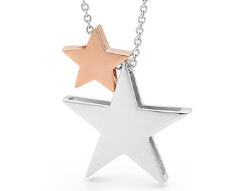 Rose Gold and Silver Star Necklace, silver and rose gold pendants, double star necklace