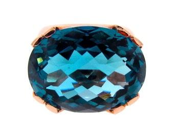 Crown ring, Rose Gold London Blue Topaz Crown Ring, oval checkerboard London Blue Topaz Ring in Rose Gold, statement ring