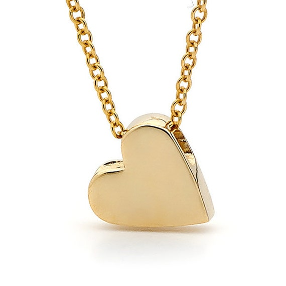 Yellow gold heart Necklace, Valentines day, small yellow gold heart pendant