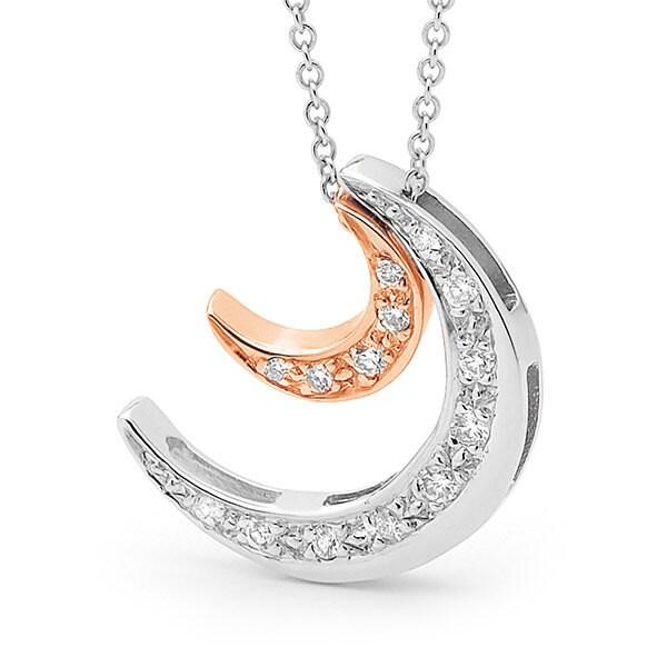 Diamond Crescent Moon Necklace White Gold And Diamond Moon