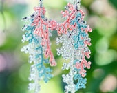Long Beaded Coral Branch Silver Turquoise & Hot Coral Seed Bead Earrings