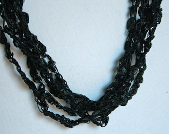 Black - Crocheted Necklace