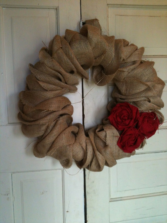 Large Burlap Wreath with Red Burlap Rosettes Flowers Removable Front Door