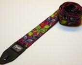 Handmade Guitar Strap - BUTTERFLIES - Violet - Blue - Orange - Turquoise - Green