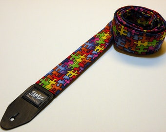 Handmade Double Padded Autism Awareness Guitar Strap - Spectrum - Autism Puzzle - ASD