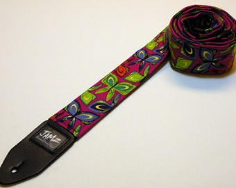 Handmade Guitar Strap - BUTTERFLIES - Violet - Blue - Orange - Turquoise - Green