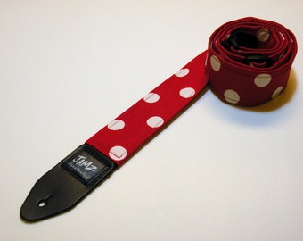Red & White Polka Dot Guitar Strap - Handmade