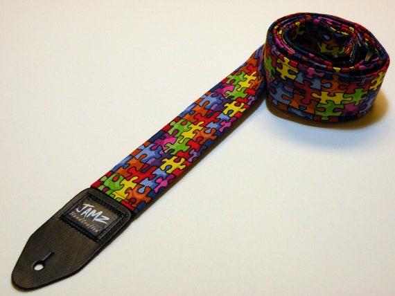 Handmade Double Padded Autism Awareness Guitar Strap - Spectrum - Autism Puzzle - ASD