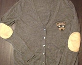 Moonrise Kingdom, Elbow Patch Cardigan, Up-Cycled