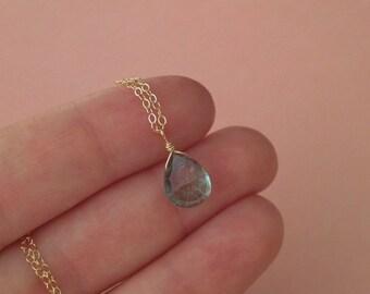 Mystic Green Quartz Necklace in Gold -Gold Mystic Green Quartz Necklace