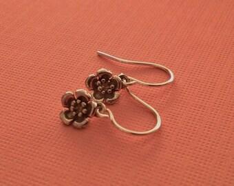 Tiny Flower Earrings in Sterling Silver -Cherry Blossom Earrings