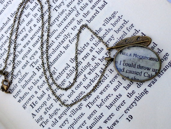 Brass To Kill a Mockingbird Necklace. Vintage Bookpage Necklace
