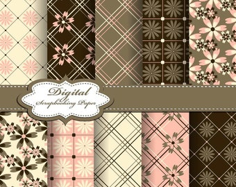 Cute Brown, Pink and Yellow Flower Digital Papers for scrapbooking, card making, Invites, photo cards  (P150)