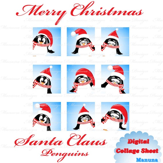 Items similar to Cute Christmas penguin (CS20) 1 inch printable ...