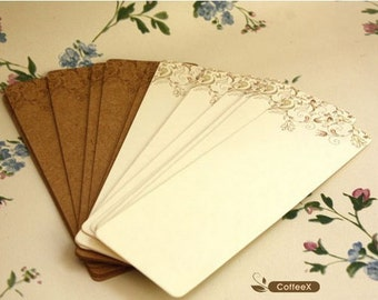 DIY Bookmark Card - Kraft Papaer Card & White Cardboard - Vine - 24 sheets