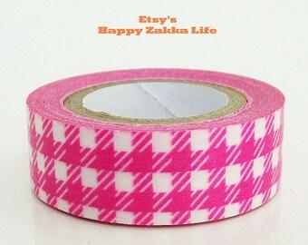 Deep Pink Check - Japanese Washi Masking Tape - 11 yards