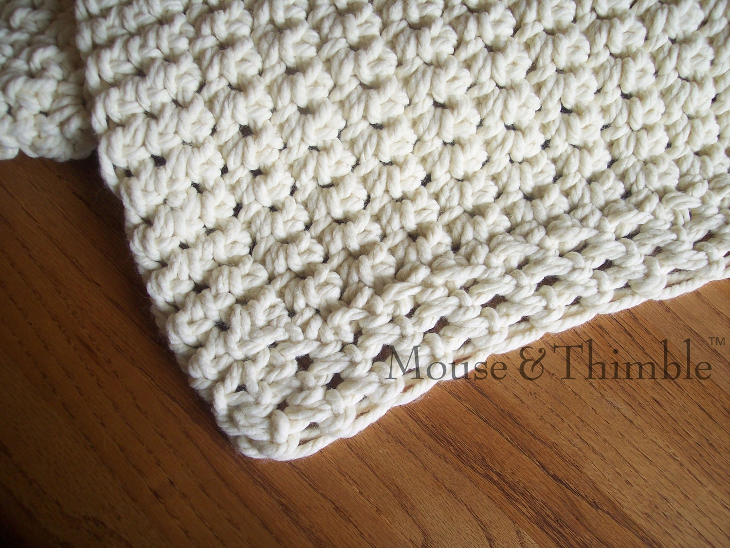 Crochet Stitches Beginners Blankets : Small Lap Size Chunky Afghan Blanket Crochet by MouseAndThimble