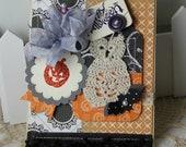 Handmade Halloween Shabby Chic card Crocheted Owl Glitter Pumpkin