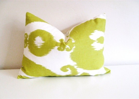 Ikat Islander Chartreuse Pillow Cover. Lumbar Decorative Pillow Cover. 12 X 18 Inch Toss Pillow.